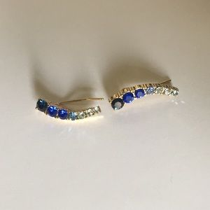 Kate spade blue and gold ear crawler earring